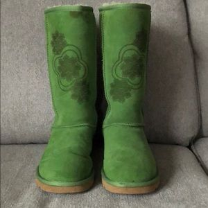 Tall Green Patterned Ugg Boots